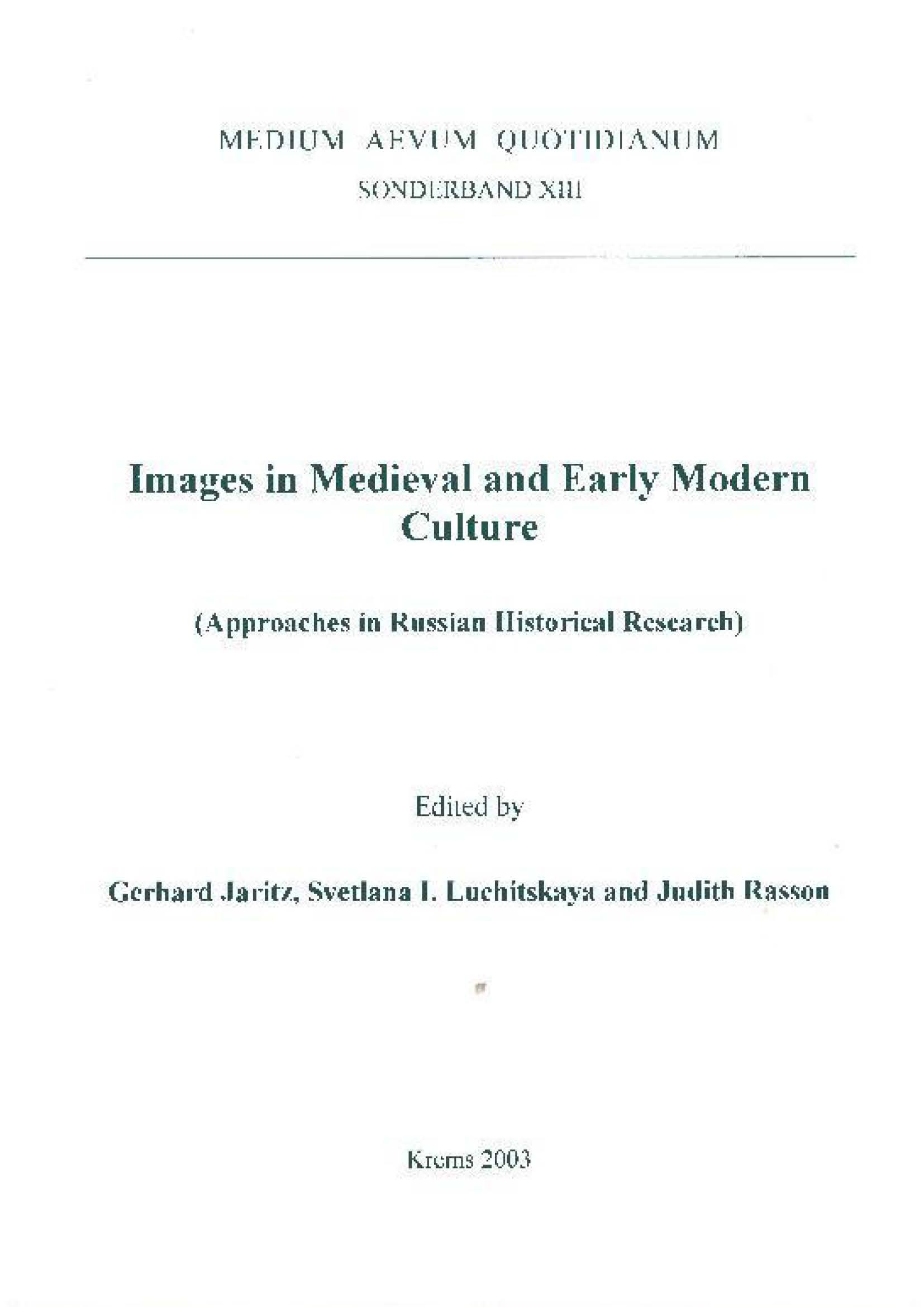 Images in Medieval and Early Modern Culture